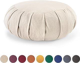 Lotuscrafts Cojin Zafu Meditación Yoga Zen - Altura 15 cm - Relleno de Espelta - Cubierta en Algodon - Cojin Yoga Zafu - Cojin Suelo Redondo - Meditation Cushion - Certificado Gots