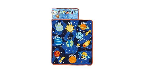 Sage//Silver Funhouse Space Adventure Toddler Nap Mat Blue Pink