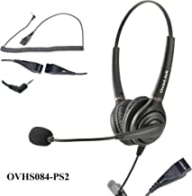 OvisLink Polycom SoundPoint Phone Headset | Dual Ear Noise Canceling Call Center Headset Compatible with Polycom SoundPoint IP Phones with 2.5mm Headset Jack | Premium Voice Quality | Durable