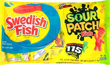 Original SOUR PATCH KIDS & SWEDISH FISH Halloween Candy Variety Pack, 115 Trick or Treat Size Packs (0.5 oz.)