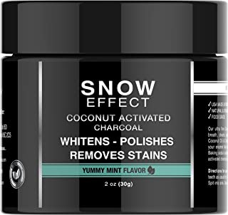 Mia Adora Teeth Whitening Activated Charcoal with Coconut - Natural Teeth Whitening at Home - Mint Flavor - Snow Effect