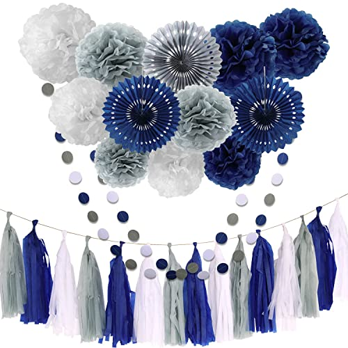 Tissue Paper Flowers Grey Navy Blue White Pom Poms Lanterns Dot Garland Party Girl Decorations