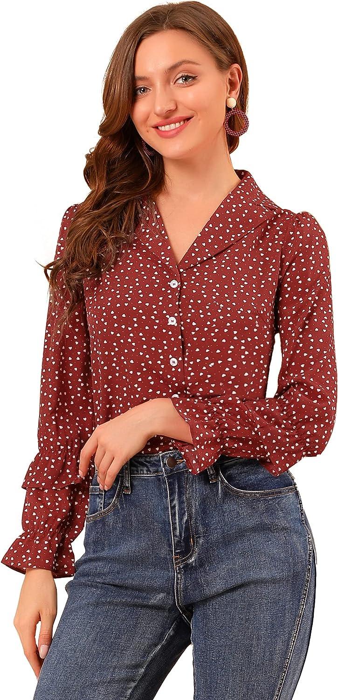 Allegra K Women's Heart Polka Dots Blouse Camp Collar Retro Puff Long Sleeve Shirt Top
