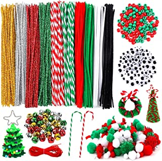 Outuxed 650 Pieces Christmas Pipe Cleaners Sets, Including 180 Pcs Pipe Cleaners, 200 Pcs Pom Poms, 120 Pcs Wiggle Googly Eyes, 100Pcs Beads and 50 Pcs Mixed Color Jingle Bells for DIY Craft Supplies