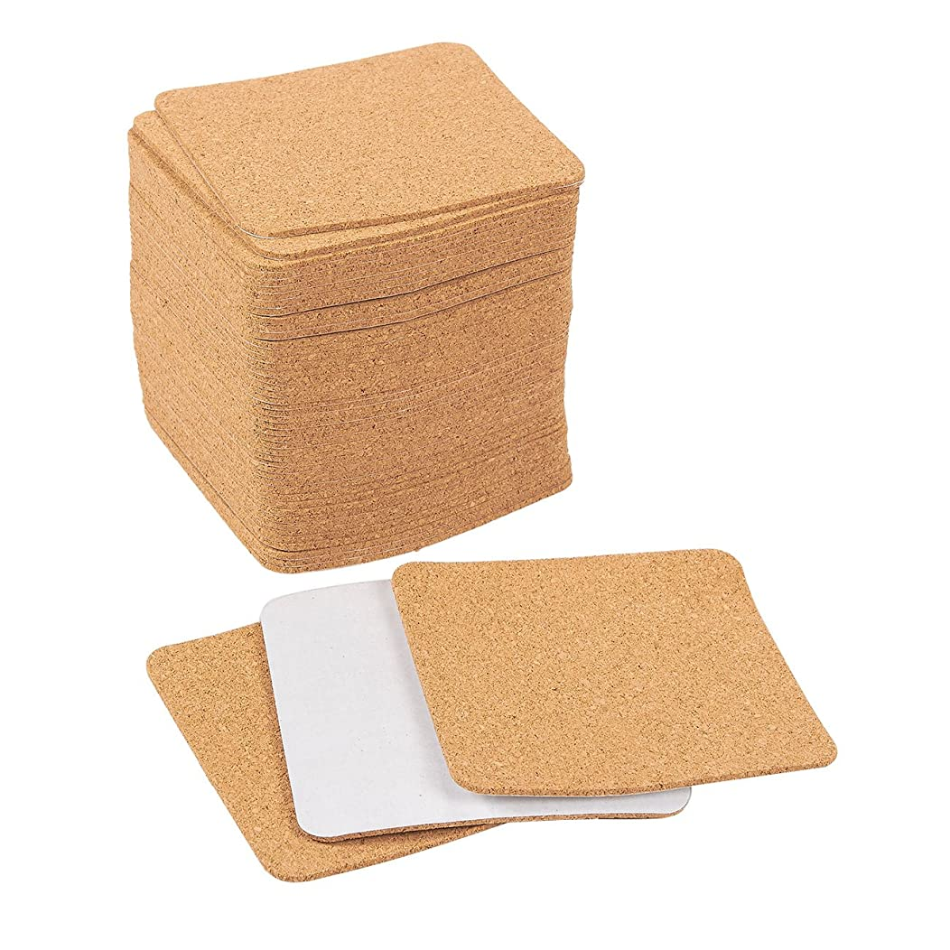 Self-Adhesive Cork Squares - 50-Pack Cork Tiles, Cork Backing Sheets for Coasters and DIY Crafts