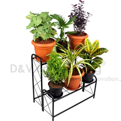 D&V ENGINEERING - Creative in innovation Metal 2 Tier Step Type Plant Stand/Pot Stand for Living Room/Garden/Balcony ...