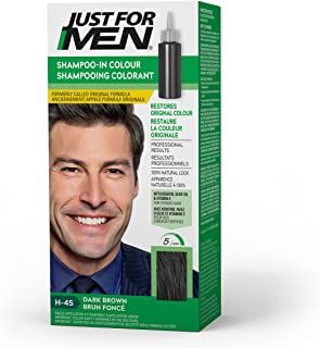 Just For Men Shampoo-in Color (formerly Original Formula), Gray Hair Coloring for Men - Dark Brown, H-45 (Packaging May Vary)