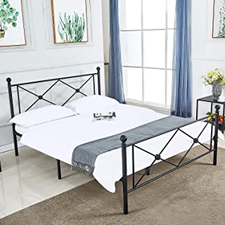 DIKAPA Sturdy Metal Bed Frame,Platform Mattress Foundation/Box Spring Replacement with Victorian Style Headboard and Footboard (Full)