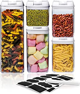 Airtight Food Storage Container Sets - Larger Sizes  Leak Proof & Interchangeable Lids  Pantry Organization  Premium Quality Clear Plastic with White Lids  BPA FREE (5-Piece Set)