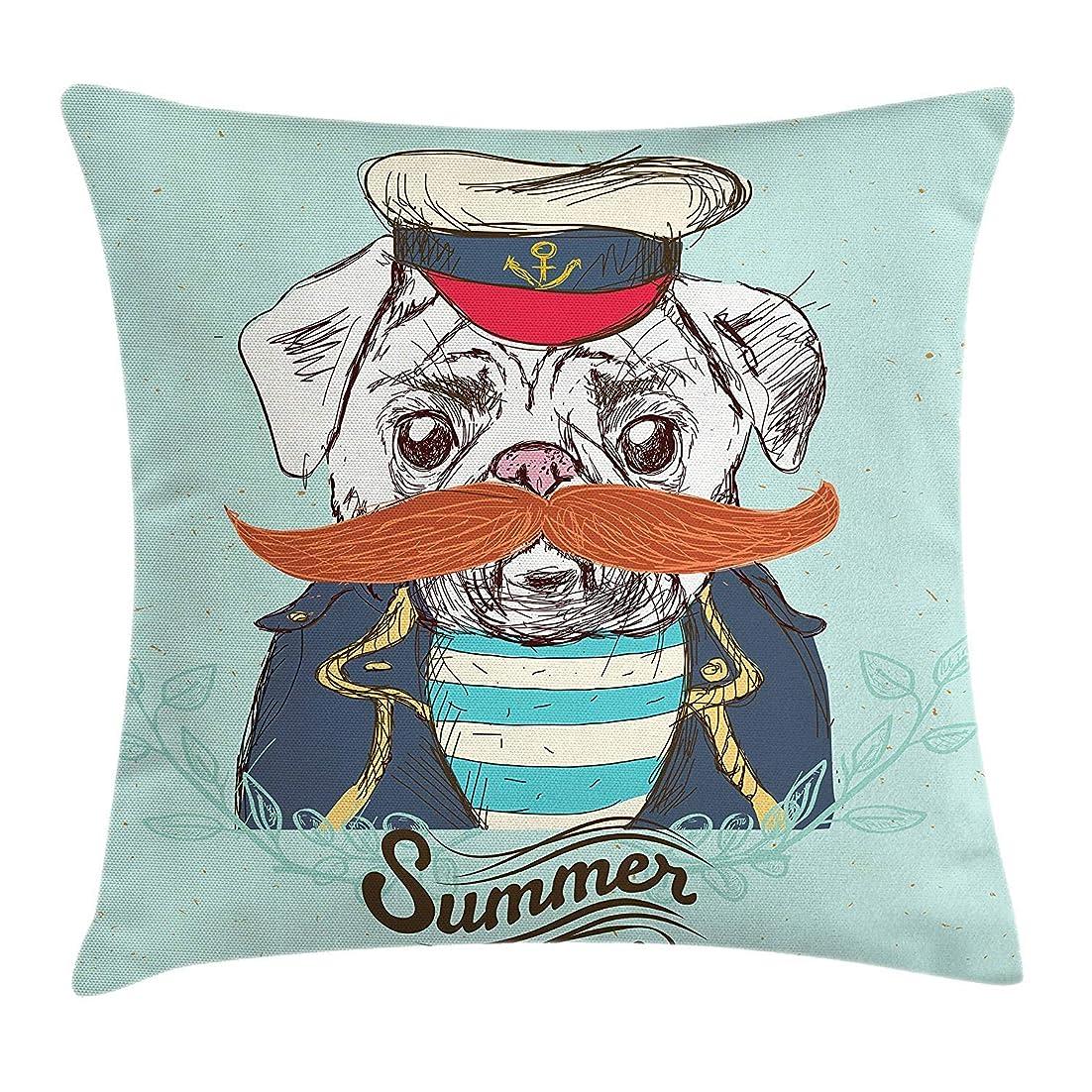 国際介入する代表するPug Throw Pillow Cushion Cover, Captain Dog with Hat Mustache Jacket and Shirt Cute Animal Funny Image, Decorative Square Accent Pillow Case,Navy Blue Pale Blue Orange Size:16 X 16 Inches/40cm x 40cm