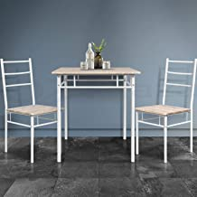 Dining Table Set | Artiss MACHAL 3 Pieces Industrial Kitchen Table and Chairs Set Dining Furniture