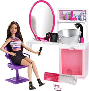 Barbie Sparkle Style Salon & Brunette Doll Playset