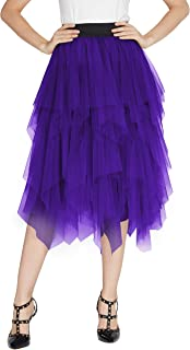 Urban GoCo Donna Retro Tutu Gonna in Tulle Elastico Stile Rockabilly Gonne a Pieghe Petticoat