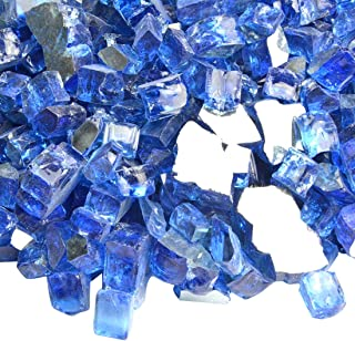 Onlyfire Reflective Fire Glass for Natural or Propane Fire Pit, Fireplace, or Gas Log Sets, 10-Pound, 1/2-inch, Cobalt Blue