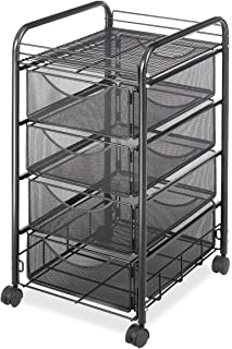 Safco Products Onyx Mesh 4 Drawer Rolling File Cart 5214BL, Black Powder Coat Finish,..