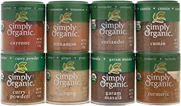 Simply Organic Indian Spices 8 Piece Set Bundled with 3 Candlewood Pantry Recipe Cards
