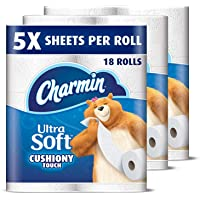 Charmin Ultra Soft Cushiony Touch Toilet Paper 18 Family Mega Rolls