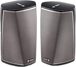 Denon HEOS 1 HS2 BK Compact Portable Wireless Speaker System (Pair) Bundle with WiFi & Bluetooth Wireless Connectivity, Class D Amplifiers & HEOS App in Black