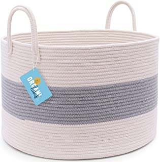 OrganiHaus 3-Toned Cotton Rope Storage Baskets for Laundry and Blankets (Wide (20