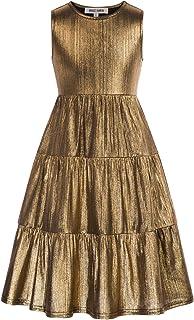 GRACE KARIN Girls Cotton Dress Sleeveless Ruffle Tiered Swing Dresses Casual Party