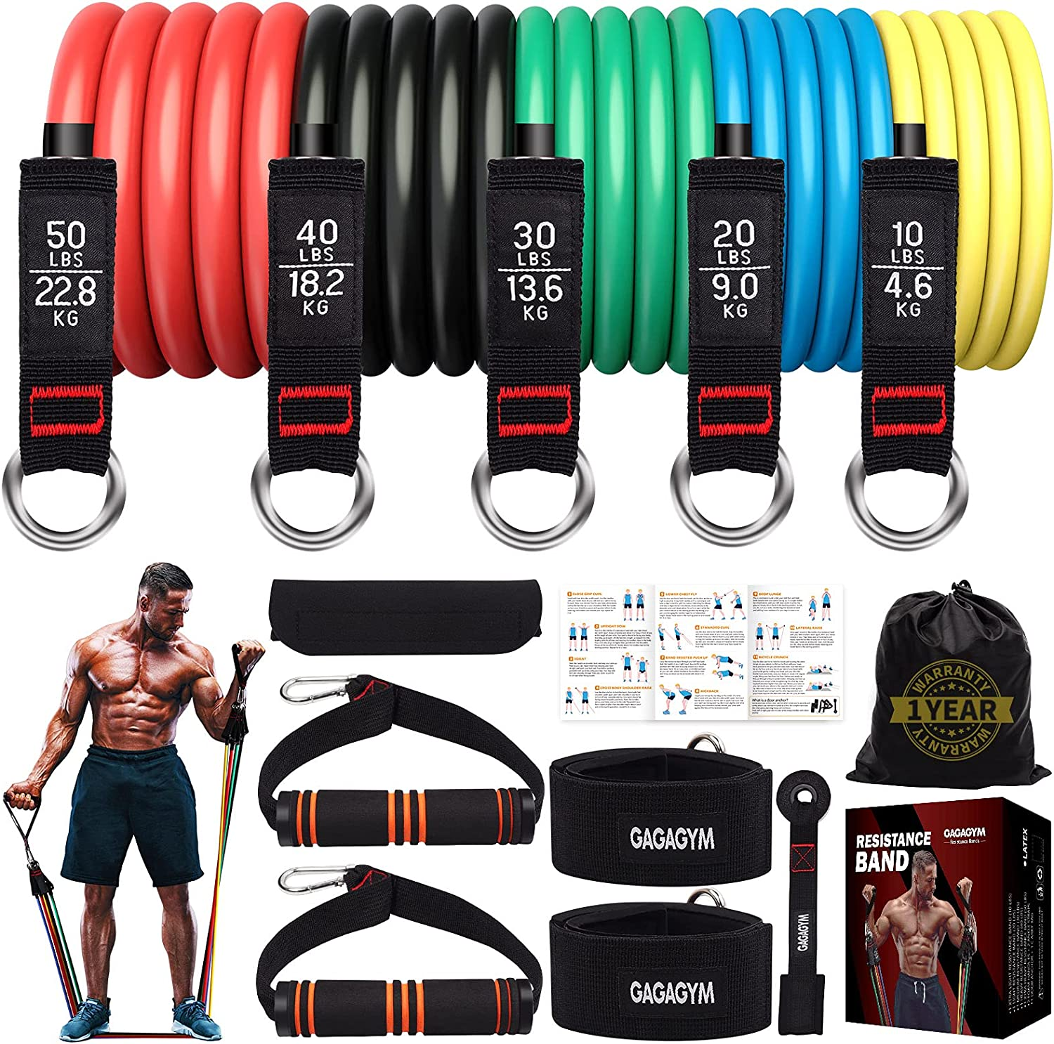 Resistance Bands Set Las Vegas Mall Exercise Handles with Training Cheap mail order sales Tubes