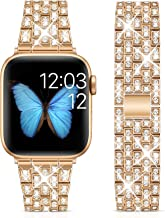 Marge Plus Compatible with Apple Watch Band 38mm 40mm 42mm 44mm, Women Jewelry Wristband Bling Diamond Metal Strap for iWa...