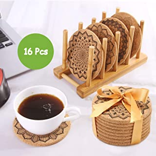 UMIPUA Drink Cork Coasters with Holder, 16PCS Cork Coasters Set Round Mandala Patterns Coasters for Drinks in Office, Home and Cottage, Bar, Restaurant, Wine Glasses, Cups& Mugs