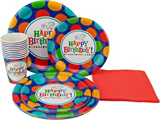 """Perfect Settings Disposable Tableware – Happy Birthday Party Plates– Dinner Set Bundles of 10 Includes Happy Birthday 9"""" Plates - 7"""" Cake Plates – 9oz Cups & Solid Color Napkins"""
