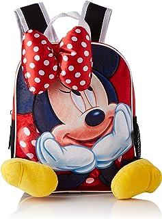 Aplicaciones de Color Rojo Mochila Infantil Minnie Mouse-Licencia Oficial Disney Studios Unisex niños, Multicolor, 230X280X90MM