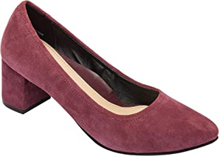 Pic & Pay - NARIN - Almond Toe Mid Block Heel Suede Pump Comfortable Insole Padded Arch Support