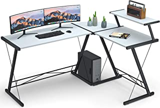 """Coleshome Reversible L Shaped Desk 60.8"""" Home Office Desk with Round Corner Computer.."""
