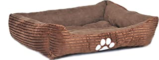 long rich Reversible Rectangle Pet Bed with Dog Paw Printing Medium, New Coffee, by Happycare Textiles