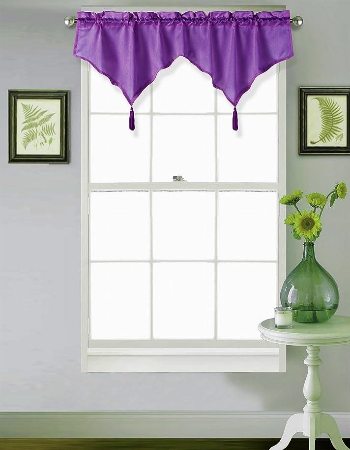 GorgeousHomeLinen (CHF) 1 Purple Elegant Tassel Faux Silk Rod Pocket Swag Waterfall Ascot Dressing Valance, 55