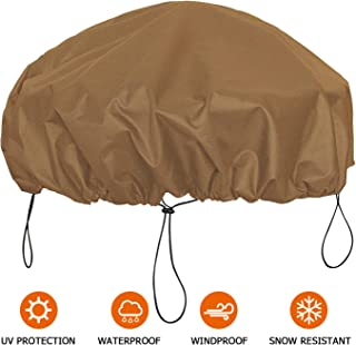 NEXCOVER Fire Pit Cover, Waterproof 600D Heavy Duty Cover Fits Round Outdoor Fire Pit up to 44