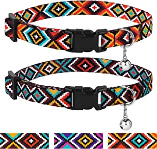 CollarDirect Aztec Cat Collar Breakaway Pack of 2 PCS Nylon Tribal Pattern Geometric Pet Kitten Collars for Cats (Aztec Sunset + Ethnic Teal)