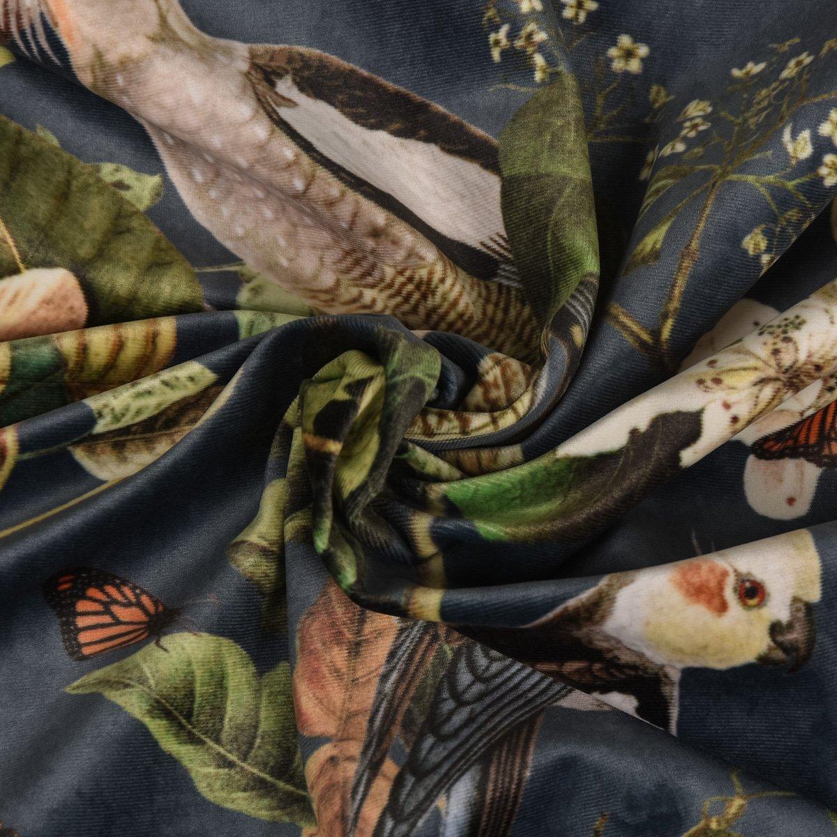 Terciopelo de tela tela decorativa Italian Velvet terciopelo mono pájaro flores azul verde colorido 1,45cm