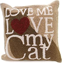 C&F Home Love Me Love My Pet Silhouette Red Heart Brown 18 x 18 Hand Hooked Acrylic Throw Pillow 18x18 Brown 444323139
