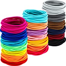 200 Pack No-metal Hair Elastics Hair Ties Ponytail Holders Hair Bands (3 mm, Multicolor)