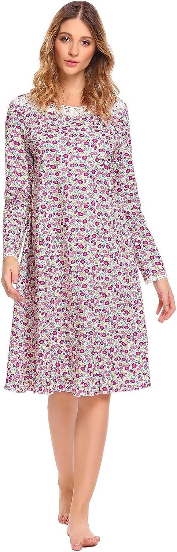 Acecor Women Cotton Irregular Collar Long Sleeve ALine Ruffle Hem Lace Prints Sleepwear Dress