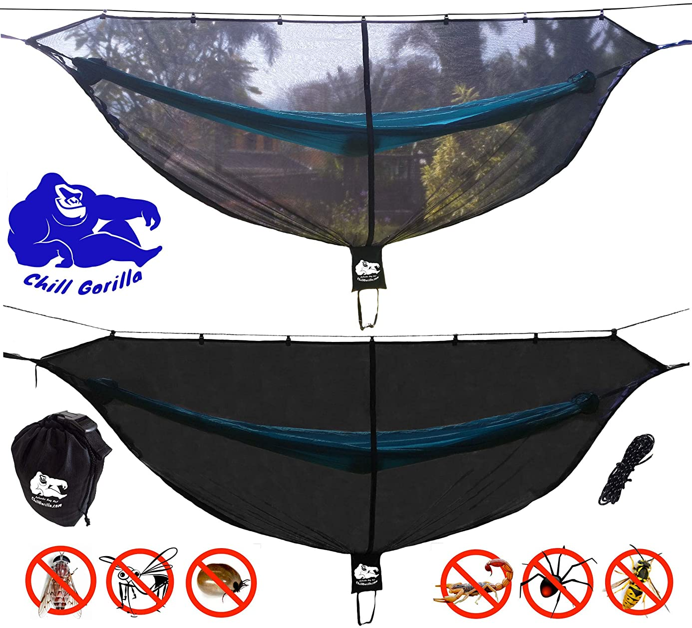 Chill Gorilla Hammock Mosquito Net Stops All Bugs & Insects. Fast Easy Setup. Compact, Lightweight. Size 132
