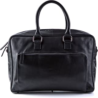 "BACCINI large laptop bag - business bag BEN fits 15"" laptop, iPad - cross-body notebook case black leather"
