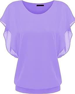 Zeagoo Women's Loose Casual Short Sleeve Chiffon Top T-Shirt Blouse