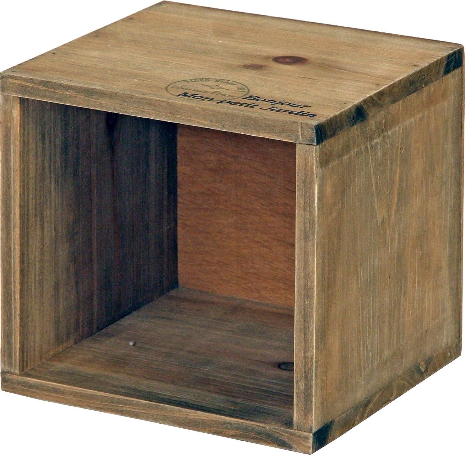 漏れ順応性クロニクル不二貿易 木製 収納 ボックス アンティーク風 ブラウン 91748