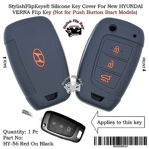 StylishFlipKeys® Silicone Key Cover Hyundai Verna (Please Check Second Image) Only for Flip Key (Red On Black)