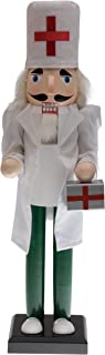 """Clever Creations Doctor Nutcracker Dressed with White Cloth Lab Coat and Green Scrubs 