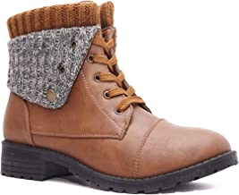 Charles Albert Combat Boots for Women with Knit Fold-Over Ankle Boots Low Heel Mid-Calf Booties
