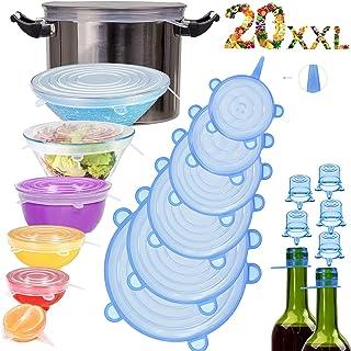 Couvercle Silicone Alimentaire,longzon®[20pcs]eco Couvercle Silicone Extensible, Film etirable Alimentaire reutilisable,Un...