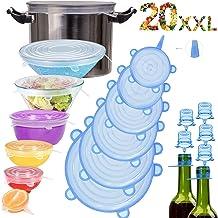 Couvercle Silicone Alimentaire,longzon®[20pcs]eco Couvercle Silicone Extensible, Film etirable Alimentaire reutilisable,Universel pour Micro Ondes Four, saladier, rangement frigo, LFGB, FDA,sans BPA