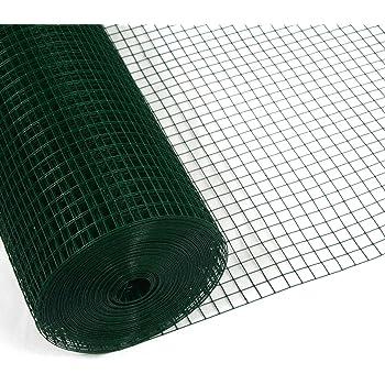 Festnight Maschendraht Gitterzaun Stahl mit PVC-Beschichtung Drahtgitter 10 x 0,5 m Quadrat-Maschen Maschenweite 16 x 16 mm Gr/ün