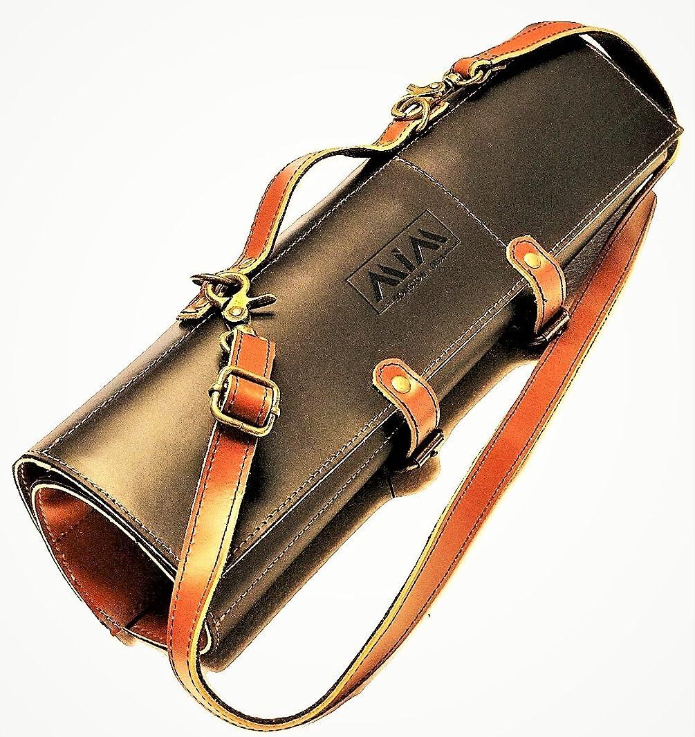 MiM Houston Chef Knife Roll - Leather Knife Bag - Stylish Knife Case with Adjust